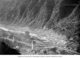 Bird's-eye view of Ravi River and bridge leading to Chamba, ca. 1899