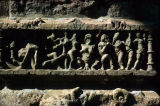 Close up of relief panel depicting child birth, from Surya (Sun) Temple, Modhera, Gujarat, India,...