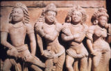 Detail of four figures (personified weapons) from Vishnu Anantasayana panel, Dashavatara Vishnu...