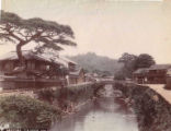 Bridge and buildings near the Nakasima (probably Nakashima) tea house, Nagasaki, ca. 1890's