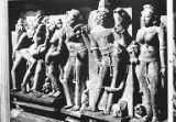 Devangana mithuna sculptures on the Vishwanath Temple in Khajuraho, Madhya Pradesh, India,...