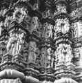 Devangana mithuna sculptures on the exterior of the Lakshman Temple in Khajuraho, Madhya Pradesh,...