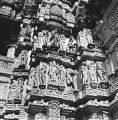 Beautiful devangana mithuna sculptures on the exterior of the Lakshman Temple in Khajuraho, Madhya...