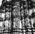 Devangana sculptures on the exterior of the Javari Temple in Khajuraho, Madhya Pradesh, India,...