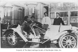 Noodles Smith and three friends with vintage car, Seattle, ca. 1935