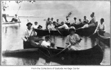 Preston Baptist Church members canoeing, 1912