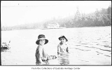 Phyllis Hill and Ted McCreary swimming in Meydenbauer Bay, Bellevue, ca. 1920