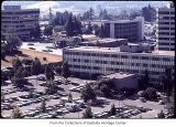 Aerial of Puget Power building and parking lot, Bellevue, ca. 1969