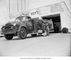 Fire truck outside King County Fire District 34 station, Redmond, 1967
