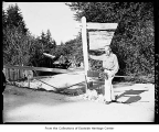 Totem pole artist Dudley Carter, Redmond, September 4, 1956