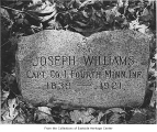 Gravestone of Joseph Williams in pioneer cemetery, Bellevue, ca. 1970