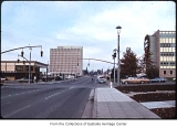 Intersection of 106th Avenue NE and NE 4th looking north, Bellevue, ca. 1969