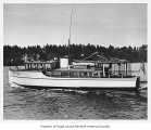Dirigo, a diesel powered cruiser, near a coast, n.d.
