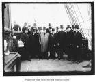 Reception committee on a ship deck in Seattle, May 24, 1908