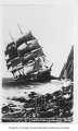 Glenesslin, a full rigged sailing ship, wrecked on a rocky coastline near Manzanita, Oregon, 13,...