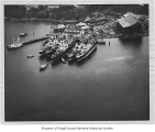 Commercial Ship Repair Company, aerial view from above land, February 18, 1954