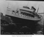 Princess Kathleen, a passenger steamer, wrecked and aground at Point Lena, Alaska, 1952