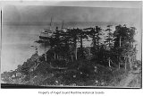 Princess May, a passenger steamer, wrecked and ashore on Sentinel Island, bird's-eye view from the...