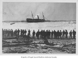 Corona, a passenger steamer, in surf with many passengers on deck and a rescue attempt in...