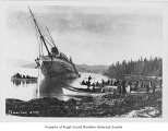 Mariposa, a passenger steamer, wrecked and being abandoned, Strait Island, Alaska, 1918