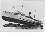 Princess May, a passenger steamer, wrecked and ashore on Sentinel Island, viewing the full side of...