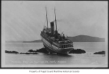 Princess May, a passenger steamer, wrecked and ashore on Sentinel Island, viewing the stern and...