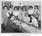 Lake Washington Shipyard office crew celebrating a birthday, Seattle, probably July 27, 1944