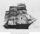 Benjamin F. Packard, a full rigged sailing ship, at sea, n.d.