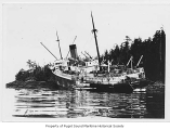 Alaska, a passenger steamer, beached on rocks near trees, n.d.