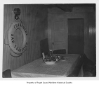 Commodore, a four-mast sailing schooner, interior, mess area, n.d.
