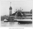 Grand Trunk Pacific pier, exterior, from Elliott Bay, ca. 1885