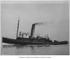 Dauntless, a steam tugboat, at sea, n.d.