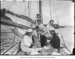 Spirit II racing crew taking a break at sea, n.d.