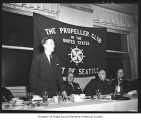 Al Lintner speaking at a Propeller Club meeting, Seattle, n.d.
