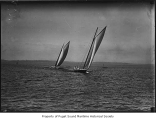 Spirit and Alexandra, two sailing sloops, at sea, n.d.