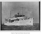 Hyding, a diesel powered yacht, at sea, n.d.