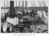 Commodore, a four-mast sailing schooner, rigging on deck, n.d.