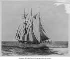 Benicia, a three-mast sailing barkentine, at sea, 1903