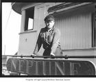 Captain Ray Quinn on board the Neptune, n.d.