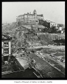 Washington Hotel during regrading of Second Avenue, Seattle, 1906