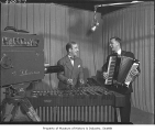 Art Barduhn and Stan Boreson performing in KING television studio, Seattle, 1950