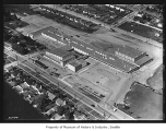 Aerial of Catherine Blaine School from east, Seattle, 1952