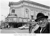 Robert Hutchinson, Morris Alhadeff, and Joe Gottstein outside the Coliseum Theatre, Seattle, 1967
