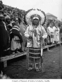 Chief Joe Charlie in ceremonial dress, probably in Seattle, 1926