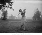 Wilmaglen Paddock golfing at Seattle Golf Club, The Highlands, 1929