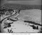 Aerial of Green Lake in winter from east, Seattle, 1957