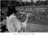 Flute player at Earth Day gathering in Seward Park, Seattle, April 1971