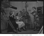 Filming program in KING television studio, Seattle, 1950