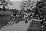Bicyclists at Green Lake on Heart Association's Bike Day, Seattle, 1971
