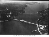 Aerial of East Channel Bridge from north, Mercer Island, September 11, 1938